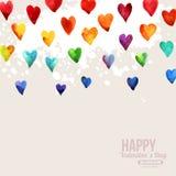 Cuori felici di giorno di biglietti di S. Valentino dell'acquerello dell'arcobaleno Fotografia Stock Libera da Diritti