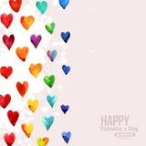 Cuori felici di giorno di biglietti di S. Valentino dell'acquerello dell'arcobaleno Fotografia Stock