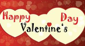 Cuori felici di rosso di giorno di biglietti di S. Valentino Immagine Stock Libera da Diritti