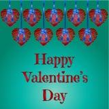 Cuori felici di vettore di San Valentino Fotografia Stock Libera da Diritti