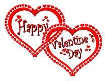 Cuori felici intrecciati di giorno di biglietti di S. Valentino Fotografie Stock Libere da Diritti