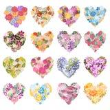 Cuori floreali messi illustrazione di stock