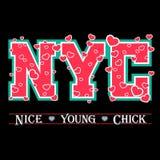 Cuori grafici di eleganza di New York di tipografia della maglietta Immagini Stock