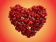 Cuori lucidi che formano un grande cuore (percorso di residuo della potatura meccanica) Fotografie Stock Libere da Diritti