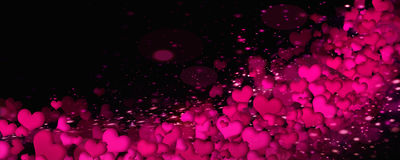 Cuori luminosi su un fondo nero Fotografia Stock