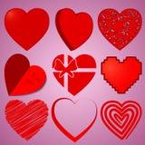 9 cuori messi per il giorno del ` s del biglietto di S. Valentino fotografia stock