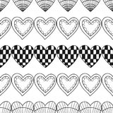 Cuori Modello senza cuciture decorativo in bianco e nero per il libro da colorare Fondo romantico e adorabile Fotografia Stock Libera da Diritti