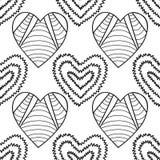 Cuori Modello senza cuciture decorativo in bianco e nero per il libro da colorare Fondo romantico e adorabile Immagine Stock