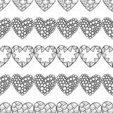 Cuori Modello senza cuciture decorativo in bianco e nero per il libro da colorare Fondo romantico e adorabile Fotografie Stock
