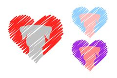 Cuori nei colori rossi, blu e rosa con gli animali domestici Logo della testa di cane cuori disegnati a mano con l'interno animal illustrazione di stock