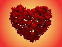 Cuori opachi che formano un grande cuore (percorso di residuo della potatura meccanica) Fotografia Stock Libera da Diritti