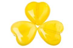 Cuori opalini gialli immagini stock