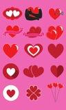 Cuori per le icone di San Valentino della st messe Fotografia Stock