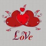 Cuori per progettazione Giorno di biglietti di S. Valentino, messaggio di amore illustrazione di stock
