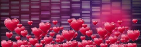 Cuori pieni di bolle brillanti dei biglietti di S. Valentino con il fondo di porpora di rettangoli Fotografia Stock