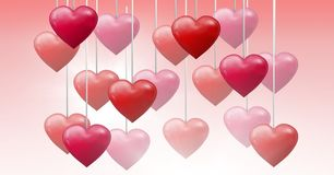 Cuori pieni di bolle dei biglietti di S. Valentino che appendono sulla corda Immagine Stock Libera da Diritti