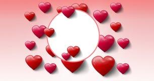 Cuori pieni di bolle dei biglietti di S. Valentino con il cerchio vuoto Fotografie Stock
