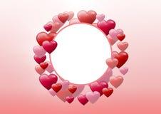 Cuori pieni di bolle dei biglietti di S. Valentino nel cerchio vuoto Fotografia Stock