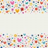 Cuori, punti e fondo della carta per appunti funky delle stelle retro Fotografia Stock Libera da Diritti