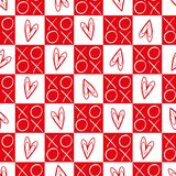 Cuori a quadretti rossi e bianchi alla moda e modello senza cuciture di vettore di baci e degli abbracci Grande per il giorno di  illustrazione vettoriale