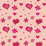 Cuori reticolo e fiori senza cuciture del biglietto di S. Valentino Fotografia Stock