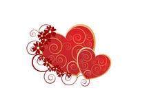 Cuori romantici del biglietto di S. Valentino Immagini Stock Libere da Diritti