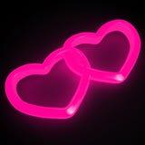 Cuori rosa al neon fotografia stock