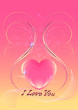 Cuori rosa decorati con le linee curve iridescenti e gli zecchini Fotografie Stock Libere da Diritti