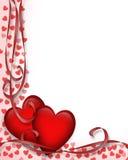 Cuori rossi 3D del biglietto di S. Valentino   Immagine Stock