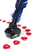 Cuori rossi con a penna ed inchiostro Fotografia Stock