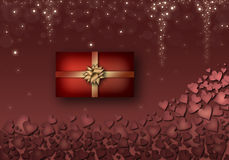 Cuori rossi, contenitore di regalo rosso con i nastri gialli Immagini Stock