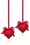 Cuori rossi del biglietto di S. Valentino Fotografia Stock Libera da Diritti