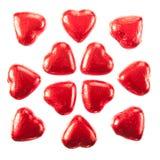 Cuori rossi del cioccolato Fotografia Stock Libera da Diritti