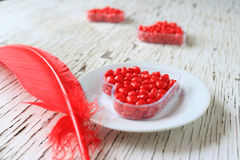 Cuori rossi della cannella in una forma del cuore Fotografia Stock
