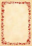 Cuori rossi dipinti a mano della pagina Immagine Stock