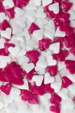 Cuori rossi e bianchi del biglietto di S. Valentino Fotografia Stock