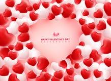 Cuori rossi e bianchi molli e regolari dei biglietti di S. Valentino su Backgrou rosa Immagine Stock