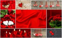 Cuori rossi, fiori rosa, decorazione Rosa rossa Fotografie Stock Libere da Diritti