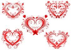 Cuori rossi floreali eleganti del biglietto di S. Valentino messi Fotografie Stock Libere da Diritti
