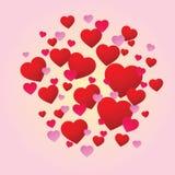 Cuori rossi luminosi di amore Immagini Stock Libere da Diritti