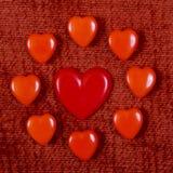 Cuori rossi per il San Valentino Fotografia Stock Libera da Diritti