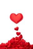 Cuori rossi su bianco Immagini Stock