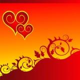 Cuori rossi su un ornamento del fiore Fotografia Stock Libera da Diritti