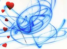 Cuori rossi sulla linea blu romanzesca di amore del fondo bianco illustrazione di stock