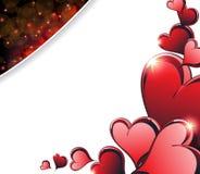 Cuori scintillanti di giorno di biglietti di S. Valentino Fotografia Stock