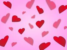 Cuori sul colore rosa Fotografia Stock