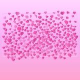 Cuori tagliati di carta sparsi con un insieme su un fondo rosa per il giorno del biglietto di S. Valentino s illustrazione vettoriale