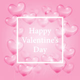 Cuori trasparenti realistici e saluti felici di giorno di biglietti di S. Valentino su fondo rosa, illustrazione di vettore Fotografia Stock Libera da Diritti