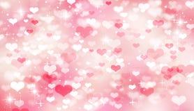 Cuori vago, festivo, rosa e bianco rosa del fondo del bokeh, bokeh, San Valentino, il giorno delle donne, festa della mamma, amor illustrazione di stock