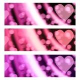 Cuori Valentine Banners Headers romantico di Bokeh Fotografie Stock